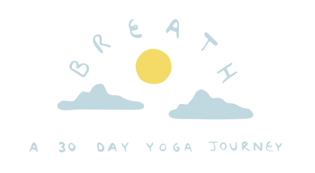 Breath: A 30 Day Yoga Journey with Adriene logo showing a yellow sun between two clouds under the word Breath.
