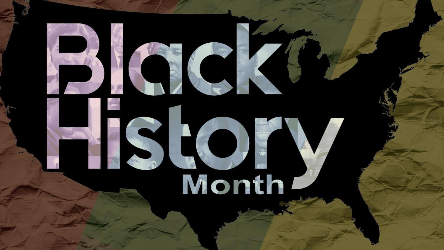 The words Black History Month written over a blacked out silhouette of the United States of America.