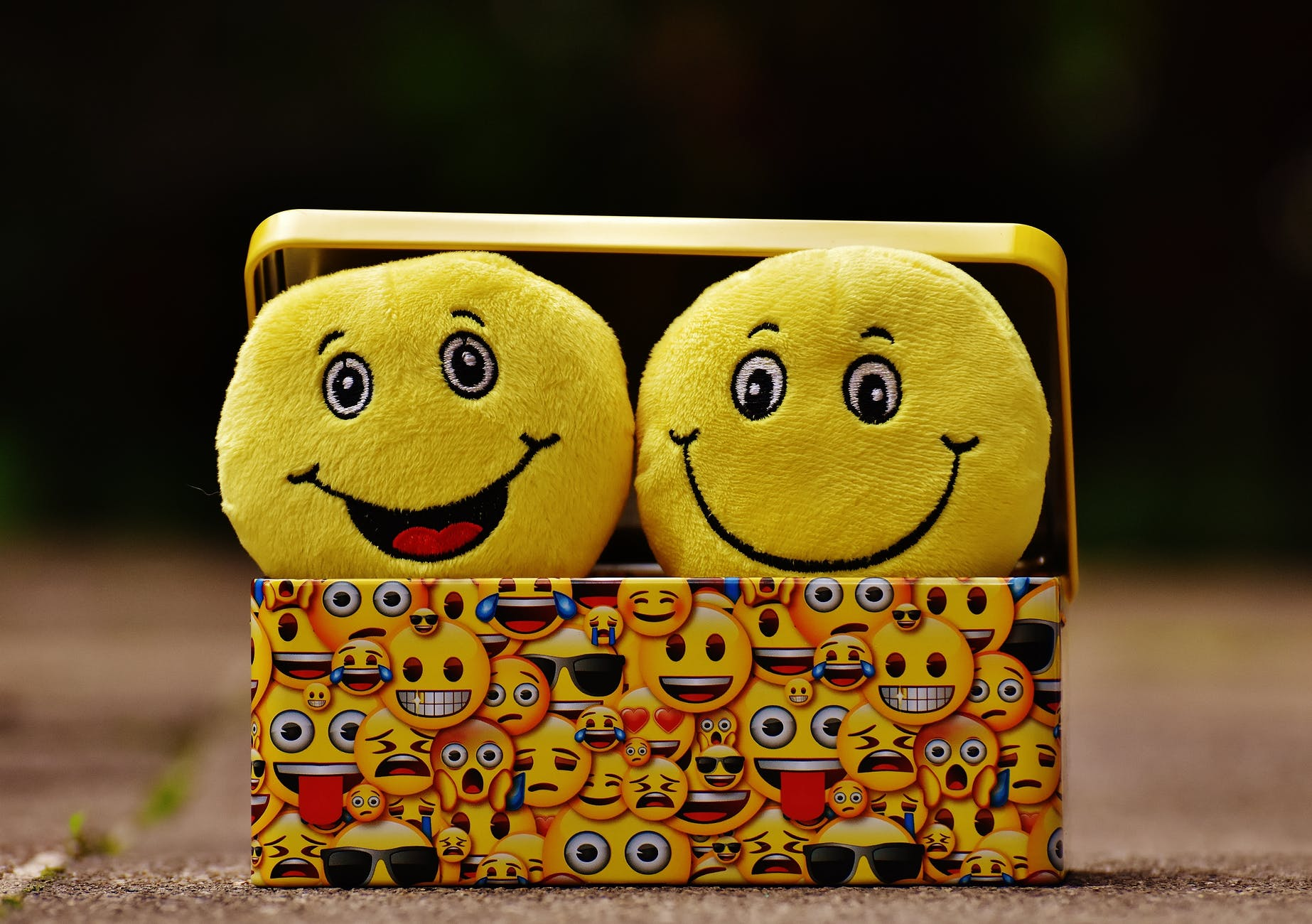 Happy and Smiling emoji plush dolls in a metal tin case with various emojis decorating it. Representative of many emotions.